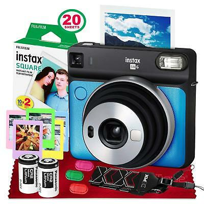 Fujifilm instax Square SQ6 Instant Film Camera (Metallic Blue) + 20 Sheets Insta