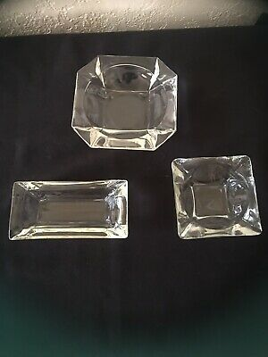 Vintage Clear Glass Ashtrays 3