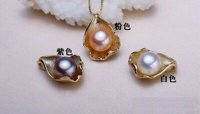 """Tears 11-12mm Natural South Sea Genuine Pearl 14k Gold Plated Silver Pendant 18"""""""