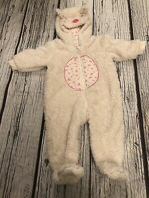 6-9 Months Baby Girls Next Cream Fluffy Bunny Ditsy Pramsuit Snowsuit Lined