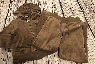 8-9 Years Girls Brown Velour Tracksuit H&m
