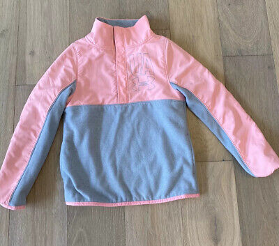 Under Armour Girls Half Snap Pull Over Pink Gray Size Small