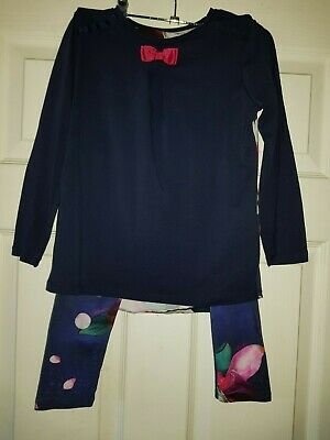 Girls Aged 5-6 Years Designer Matching Top & Leggings by TED BAKER in Navy Multi