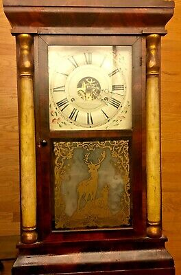 Antique Large Seth Thomas Wind-Up Chiming Clock w/ Pendulum/Key AS-IS L.A,Cal