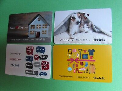 Winners Marshall Homesense Gift Cards No Value 4 Cards House Dog Cat