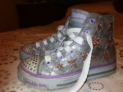Skechers Twinkle Toes, Silver/Purple with gold stars, Infant size 10, VGC