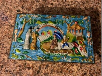 """Antique Chinese Brass Repousse Enameled Hinged Rectangular Box 6"""" x 3.5"""""""