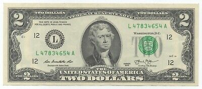 USA $2 Circulated note / Mint L12 Very hard to find in circulation!
