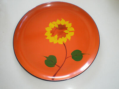 VINTAGE 1965 DAVAR Orange Lacquer Ware Plate/Tray with FLOWER Retro 60s POP ART