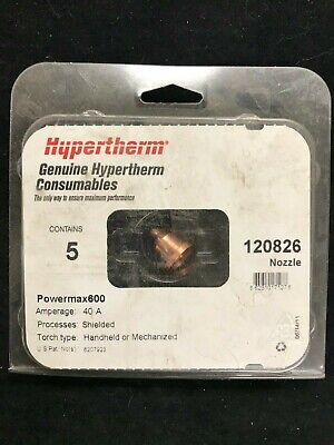 1 Only Powermax 600,Shielded ITEM 317 Hypertherm 120826 Plasma Cutter Nozzle