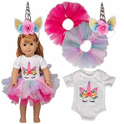 Dress Along Dolly Unicorn Doll Clothes for 18 Inch American Girl Dolls - 4 Piece