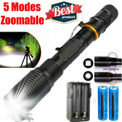 900000LUMEN Powerful Flashlight Police Zoomable T6 LED Torch 18650 Light+Charger