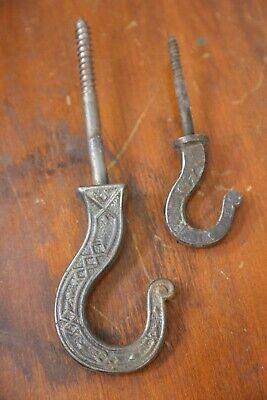 2 Antique Cast Iron Hooks Ornate Hat Coat hanger Clothing industrial hardware