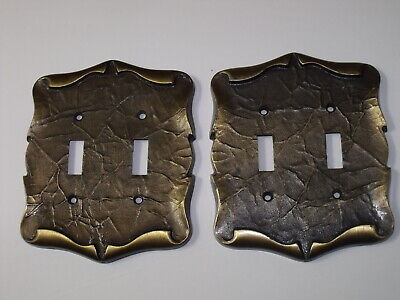 Two Vintage Amerock Carriage House Double Switch Plate Cover Antique Brass 1970s