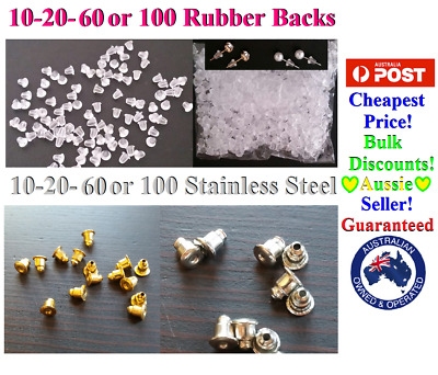 10-20-60-100 Earring Backs Backings Stoppers Stainless Steel Gold Silver Rubber