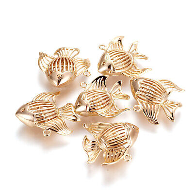 10x Brass Filigree Fish Pendants Hollow Real Gold Plated Nickel Free Charms 23mm