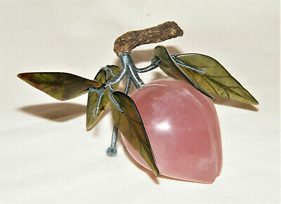 Lovely Vintage Chinese PINK QUARTZ PLUM W/ GREEN JADE JADEITE (5) LEAVES Fruit