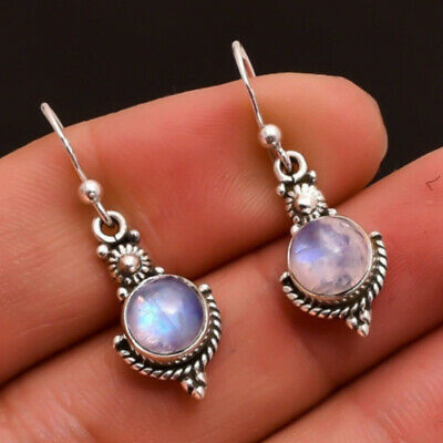 925 Sterling Silver Moonlight Stone Drop Dangle Earrings Ear Stud Jewelry Womens