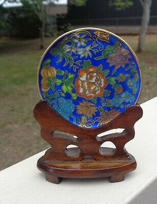 Vintage Antique Chinese Cloisonne Miniature Brass & Enamel Plate on Timber Base