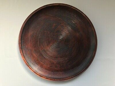 Wooden Tray Obon Plate Lacquer Ware Round Brown Nurimono Japanese Vtg b237