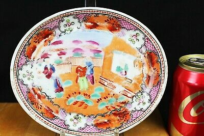 Antique Chinese Familie Rose Porcelain Plate7''x5.5''x0.7