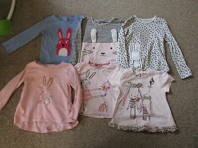 6 girls 12-18 months Next Cute bunny rabbit Tshirt + long sleeved top bundle VGC