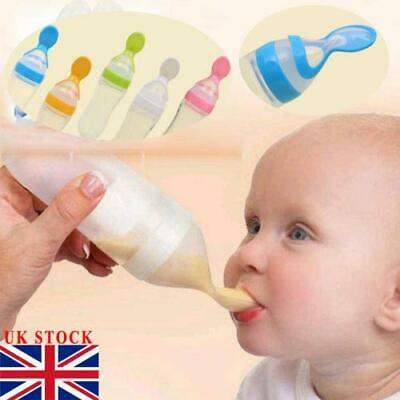 90ML Lovely Safety Infant Baby Silicone Feeding With Spoon Feeder Food Rice Cere