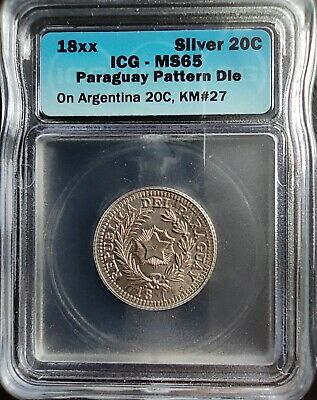 PARAGUAY 18xx 20 CENTS ON ARGENTINA 20C *PATTERN DIE* ICG MS65 #14369601133