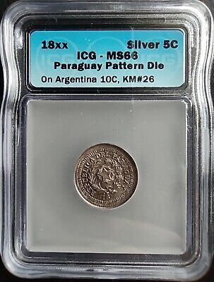 PARAGUAY 18xx 4 CENTS ON ARGENTINA 10C *PATTERN DIE* ICG MS66 #73988201473
