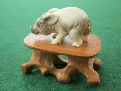 Sweet Hand Carved Statue Of A Boar Piglet On Wooden Stand In Deer Bone Antler