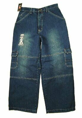 Boys Kickflip Blue Wash Combat Cargo Relaxed Fit Straight Leg Cotton Denim Jeans