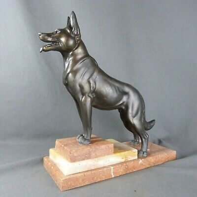 French ART DECO Bronzed Spelter SHEPHERD Dog Figure Statue Marble Base Sculpture