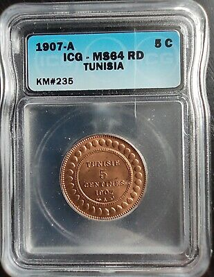1907-A Tunisia 5 Centimes Icg Ms64Rd