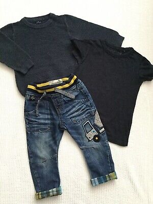 Next Baby Boys 12-18 Months Bundle Outfit Truck Jeans Jumper Top Combined Post