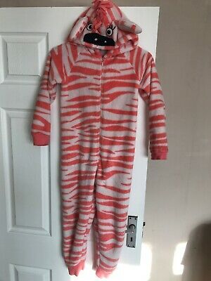 Girls All In One Pyjamas Age 6-7 M&S Pink And White Zebra Theme