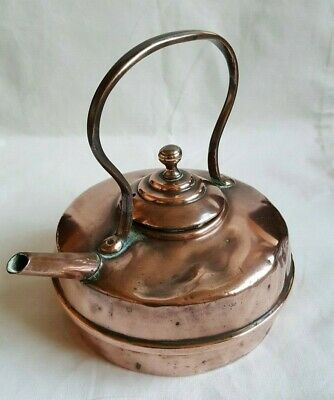 Antique Victorian Arts & Crafts Small Copper Camping Kettle Teapot