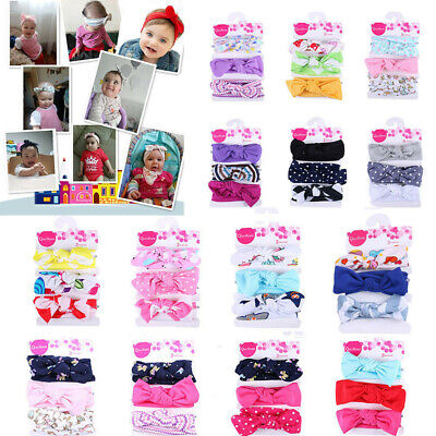 3PC/Set Kid Floral Headband Girl Baby Elastic Bowknot Accessories Hairband Set