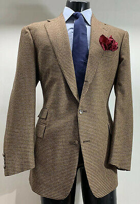 Polo Ralph Lauren Wool Brown Houndstooth Sport Coat Jacket 44 L Made In USA