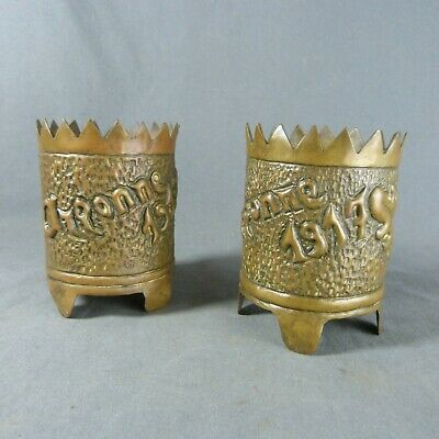Pair of Antique French WWI Shell Case Trench Art ARGONNE 1917 Vases