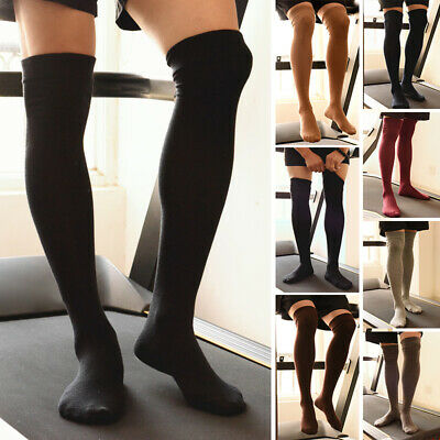 Mens Warm Football Soccer Over The Knee Long Socks Elastic Thigh High Stockings