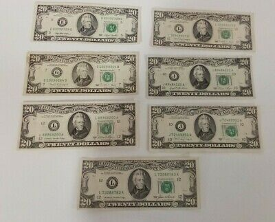 OLD STYLE 20 DOLLAR Bill - Lot of 6 - Federal Reserve Note - varying conditions