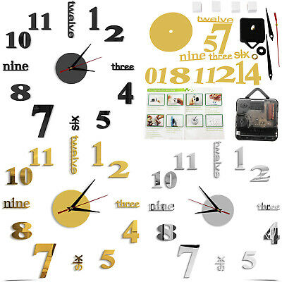 Art 3D DIY Large Number Mirror Clock Wall Sticker Home living Room Decor Craft