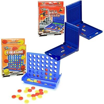 Traditional Family Travel Board Games Sea Battle & 4 in a Line Game