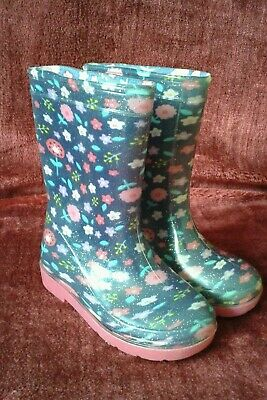 Childs Wellington Boots size 7 Blue with flower pattern