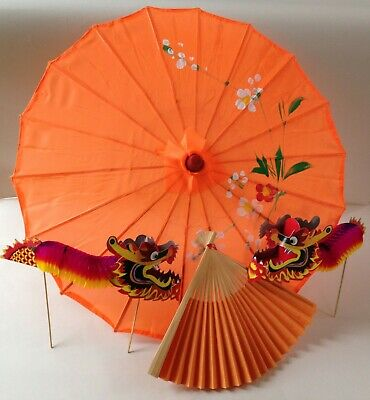 Traditional Chinese accessory set orange parasol & fan & 2 concertina dragons