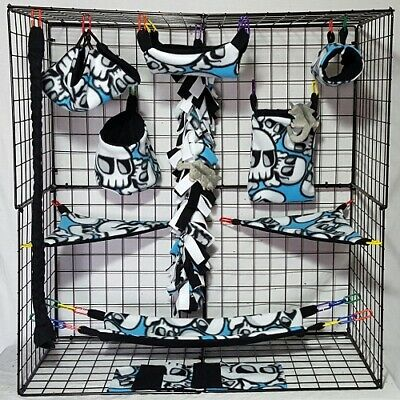Skull and Crossbones *15 PC Sugar Glider Cage set * Rat * double layer Fleece