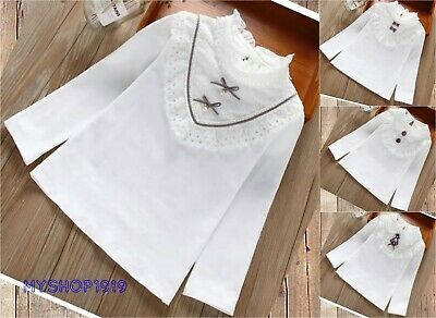 Kids Top Girls Long Sleeve Plain T Shirt Lace Fit White off School Age 2-11 year