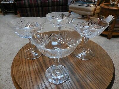 Set of 4 Gorham Cherrywood Crystal Sherbet Champagne glasses MINT- FREE SHIPPING