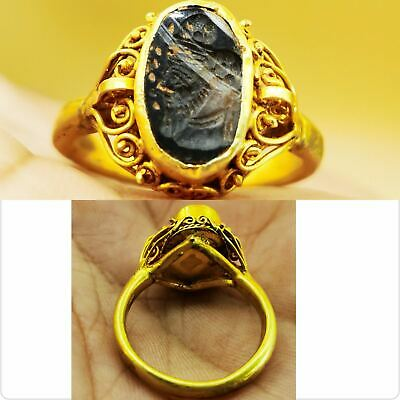 Very Old Agate stone King Face Seal Agate stone 22k karat Gold Ring # 107