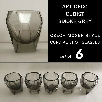 ART DECO FACETED CORDIAL SHOT GLASSES MOSER CZECH RUBA ROMBIC Glass Style SMOKEY